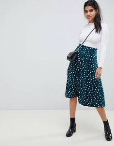 51495df06ee44 DESIGN midi skirt with box pleat in polka dot print