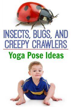 Yoga Poses : Insects, bugs, and creepy crawlers kids yoga! Pose like a ladybug, fly or worm! Preschool Yoga, Preschool Activities, Preschool Rooms, Nursery Activities, Fitness Activities, Summer Activities, Yoga For Kids, Exercise For Kids, Toddler Yoga