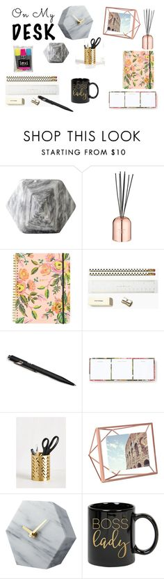"""""""marble, copper and floral :O"""" by belma-tirovic ❤ liked on Polyvore featuring interior, interiors, interior design, home, home decor, interior decorating, Tom Dixon, Rifle Paper Co, Kate Spade and Monocle"""