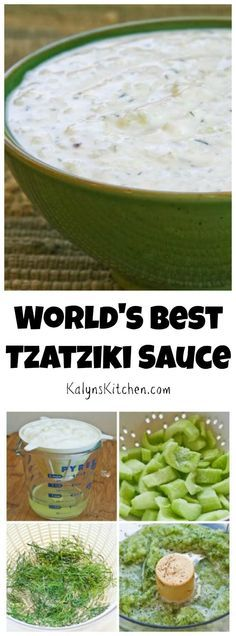 I love Tzatziki sauce, that white cucumber and yogurt sauce that's served on Greek Gyros, and this recipe has been hugely popular on my blog. [from http://KalynsKitchen.com]