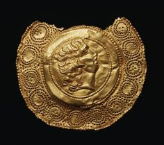 Gold Pendant with portrait of Alexander the Great  Roman  4th Century AD