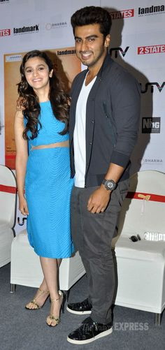 Alia Bhatt and Arjun Kapoor at the unveiling of the new cover of the Chetan Bhagat novel.