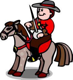 Les cliparts - Un cheval monté par un officier tenant une épée dans la main gauche