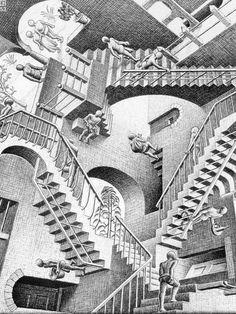 Relativity Par Escher Maurits Cornelis cm En 1953 Lithographie,gravure L. Cool Optical Illusions, Art Optical, Escher Stairs, Escher Paintings, Mc Escher Art, Black And White Painting, Illusion Art, Ap Art, Illustration Artists