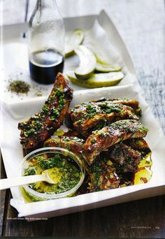 herb and lemon ribs w/ salsa verde | photographer Chris Court | Donna Hay Magazine