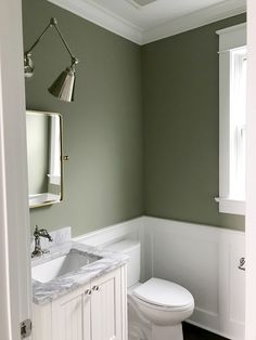 Our Powder Room: Painting the Walls Sage Green - Elizabeth Street Post Sage Green Kitchen, Sage Green Walls, Green Kitchen Walls, Sage Green Paint, Green Bathroom Paint, Light Green Bathrooms, Bathroom Paint Colours, Light Green Rooms, Painted Bathroom Cabinets