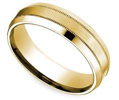 White and Gold Wedding. Groom and Groomsmen. beveled milgrain mens band yellow gold 6-mm