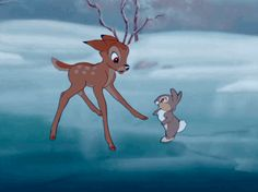 """Thumper taught us all a very important lesson: """"If you can't say something nice, don't say nothin' at all"""". As well as being damn adorable and making you want a pet bunny, Thumper is also a great friend to Bambi from childhood. Why he's better than Flower: Thumper taught Bambi to walk and speak (and sort-of ice skate).  Fun Fact: Thumper is mentioned as being Roger Rabbit's uncle in Who Framed Roger Rabbit?."""