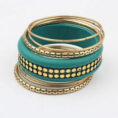 Fashion retro multi-layer metal color fashion bracelet (green)