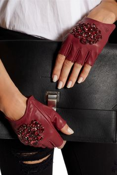 Karl Lagerfeld | Crystal-embellished fingerless leather gloves | NET-A-PORTER.COM