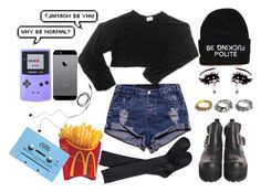 """""""//Why Be Normal?//"""" by minttaegi ❤ liked on Polyvore featuring Hellz, Xhilaration, My Mum Made It, Noir Jewelry, OneTeaspoon, Nintendo, Diane Von Furstenberg, CASSETTE, iphone and beanie"""