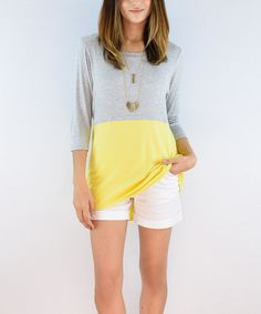 Another great find on #zulily! Lemon & Gray Colorblock Three-Quarter Sleeve Tunic #zulilyfinds