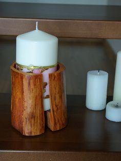 drewniany pojemnik + świeczka = stylowy i niepowtarzalny świecznik