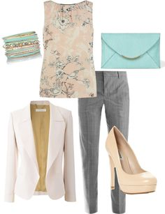 """""""work outfit for summer"""" I have the grey pants and white blazer.  Need to look for something underneath to bring it all together."""