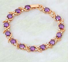 Купить Аметистовый браслет в позолоченной оправе 18К (b33) - купить браслет, аметистовый браслет