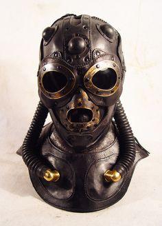 Raptor Pilot gas mask- art leather steampunk mask