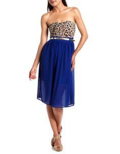 Cute strapless midi dress! Half leopard, half solid color!