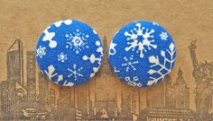 Snowflake Earrings / Fabric Covered Button by ManhattanHippy