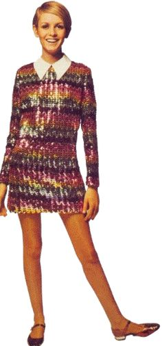Twiggy in 1966. The short mod mini-dress features a throwback to the 1940s and 50s with a Peter Pan collar.