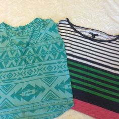Set of 2 crop tops Set of 2 barely worn crop tops. The striped is from American Eagle. The teal is Arizona brand from JCPenney. They're both size small. American Eagle Outfitters Tops Crop Tops