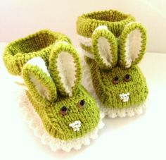 Sweet Easter Bunny -MADE TO ORDER - Baby Rabbit Knitted Booties,Baby Shoes, Baby Warm Gift. $15.90, via Etsy.