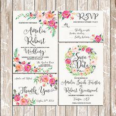 Imprimibles boda invitación suave romántico florecer acuarela