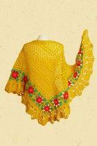 Zomers gele zonneschijn gehaakte omslagdoek met rode bloemen
