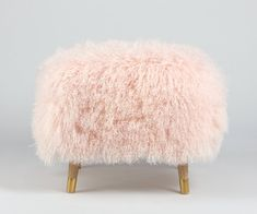 Pretty Fur Stool Ottoman made from genuine Mongolian lamb's fur in a soft pink color. Large enough to use as an ottoman or vanity stool. Old Chairs, Cafe Chairs, White Chairs, Pink Chairs, Folding Chairs, Dining Chairs, Plywood Suppliers, Mid Century Armchair, Wrought Iron Patio Chairs