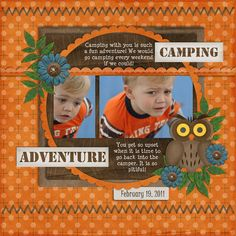 Camping - Scrapbook.com - Page 1 of 2 of this very cool layout. #digital #scrapbooking