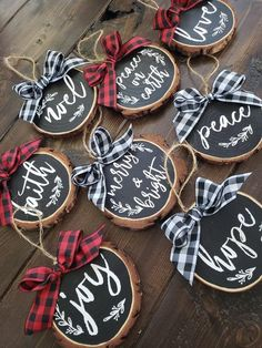 """Rustic wood slice ornaments that are completely customizable! Choose from the traditional ornaments, or order anything from """"Baby's First Christmas"""" to family names and monograms! These will add an adorable touch to any tree and make great gifts! Homemade Christmas, Diy Christmas Gifts, Christmas Projects, Homemade Ornaments, Felt Christmas, Christmas Snowman, Christmas Christmas, Christmas Craft Show, Snowman Wreath"""