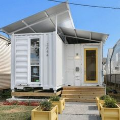 This contemporary shipping container home designed by architect Corey Newell was made out of for 40 feet recycled shipping containers. The 1,280 square-foot three-bedroom, built in 2016, has an open floor plan and a long, narrow kitchen. Eco-friendly features include spray-foam insulation, low-flow plumbing fixtures...