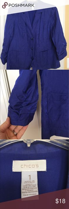 Blue-ish Purple light weight jacket by chico's! The dark purple jacket by Chico's is super lightweight crepe type material. Very easy/low maintenance. It has ruched sleeves and buttons down the front. Smoke/pet free home. Chico's Jackets & Coats Blazers