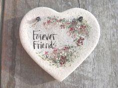 Friends Gift Salt Dough Heart Ornament by cookiedoughcreations, $5.95