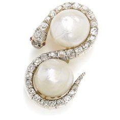 Broche-serpiente en diamantes y perlas