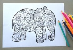 Elephant Design Colouring Page Adult Colouring by SimplyAddColour