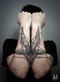 Esoteric tattoos. You may dislike the symbol, but the placement is sick... By Veks Van Hillik.