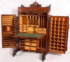 Standard grade wooton desk with an ornate renaissance revival gallery, figured maple interior and incised dropfront d. Furniture Showroom, Furniture Layout, Cool Furniture, Furniture Design, Victorian Furniture, Primitive Furniture, Antique Furniture, Country Furniture, Woodworking Plans