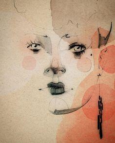 "312 Likes, 6 Comments - Ekaterina Koroleva (@kikivancheese) on Instagram: "" #illustration #portrait #watercolor #pencil #outline #studio #ekaterinakoroleva #berlin"""