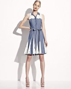CHAMBRAY SLEEVELESS DRESS WITH LACE DENIM MULTI ready to wear dresses no classes fashion