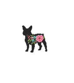 Frenchie Bulldog Silhouette Cross Stitch Pattern floral roses