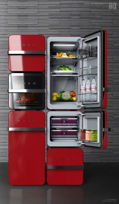 Brick suggests the individual refrigerator which can be combined and made by people's environments and diets. So users can make a individual refrigerator.Each module which has 2 different sizes, perform different roles such as refrigerator, freezer, and… Interior Design Kitchen, Kitchen Decor, Kitchen Gadgets, Kitchen Appliances, Smeg Kitchen, Deco Design, Design Lab, Tiny Living, Industrial Design