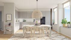 Våning med L-format kök och med plats för flera middagsgäster Lounge, Kitchen Ideas, Table, Pop, Furniture, Home Decor, Airport Lounge, Drawing Rooms, Popular