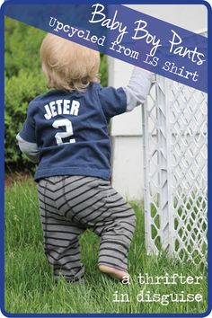 Refashion shirt into baby boy pants. DIY #baby pants A Thrifter in Disguise: DIY Upcycled Baby Boy Knit Pants