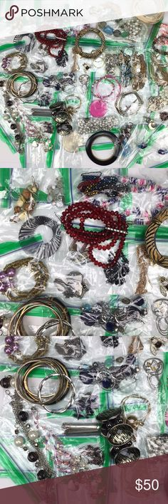 Mega Lot of Costume Jewelry - Necklaces, etc...... Huge lot of costume jewelry. Various modern and vintage items. Great to wear Great for crafts Great to resell Well over 50 items!!!!! Lots of necklaces, bracelets, earrings, pins, brooches. READY TO SHIP Unknown Jewelry Necklaces