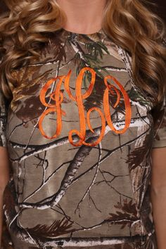 Items similar to Short Sleeve Camo Monogrammed Shirt with Large Monogram on Etsy Monogram Shirts, Monogram Fonts, Monograms, Camo Jeans, Hunting Camo, Embroidery Monogram, Pink Camo, Southern Style, My Favorite Color