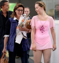 Princess Caroline of Hanover and her daughter Princess Alexandra of Hanover after the junior ladies free skating of ISU Junior Grand Prix of figure skating on September 11, 2015 in Linz, Austria.