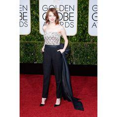 Emma Stone en Lanvin http://www.vogue.fr/mode/red-carpet/diaporama/les-golden-globes-2015/21823/image/1128567#!emma-stone-en-lanvin