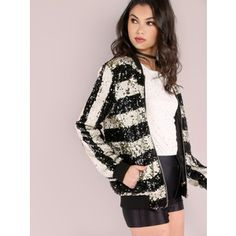 SheIn(sheinside) Black And White Striped Zip Up Sequin Bomber Jacket