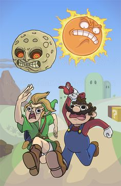 Zelda & Mario: Sun and Moon. (Zelda because that's the name of the game, not the character) Video Game Memes, Video Games Funny, Funny Games, Video Game Art, Super Smash Bros Memes, Legend Of Zelda Memes, Funny P, Funny Shit, Hilarious