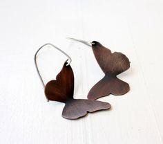 Copper Butterfly earrings / rustic copper earrings / woodland inspired / mixed metal dangle earrings Handmade